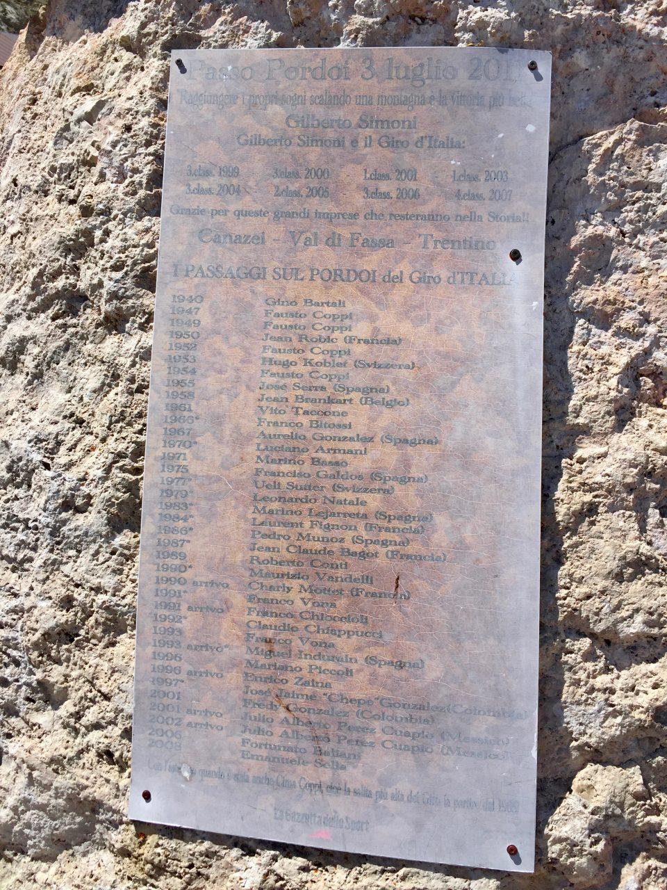Gedenktafel Gilberto Simoni, Passo Pordoi, Dolomites, Italy