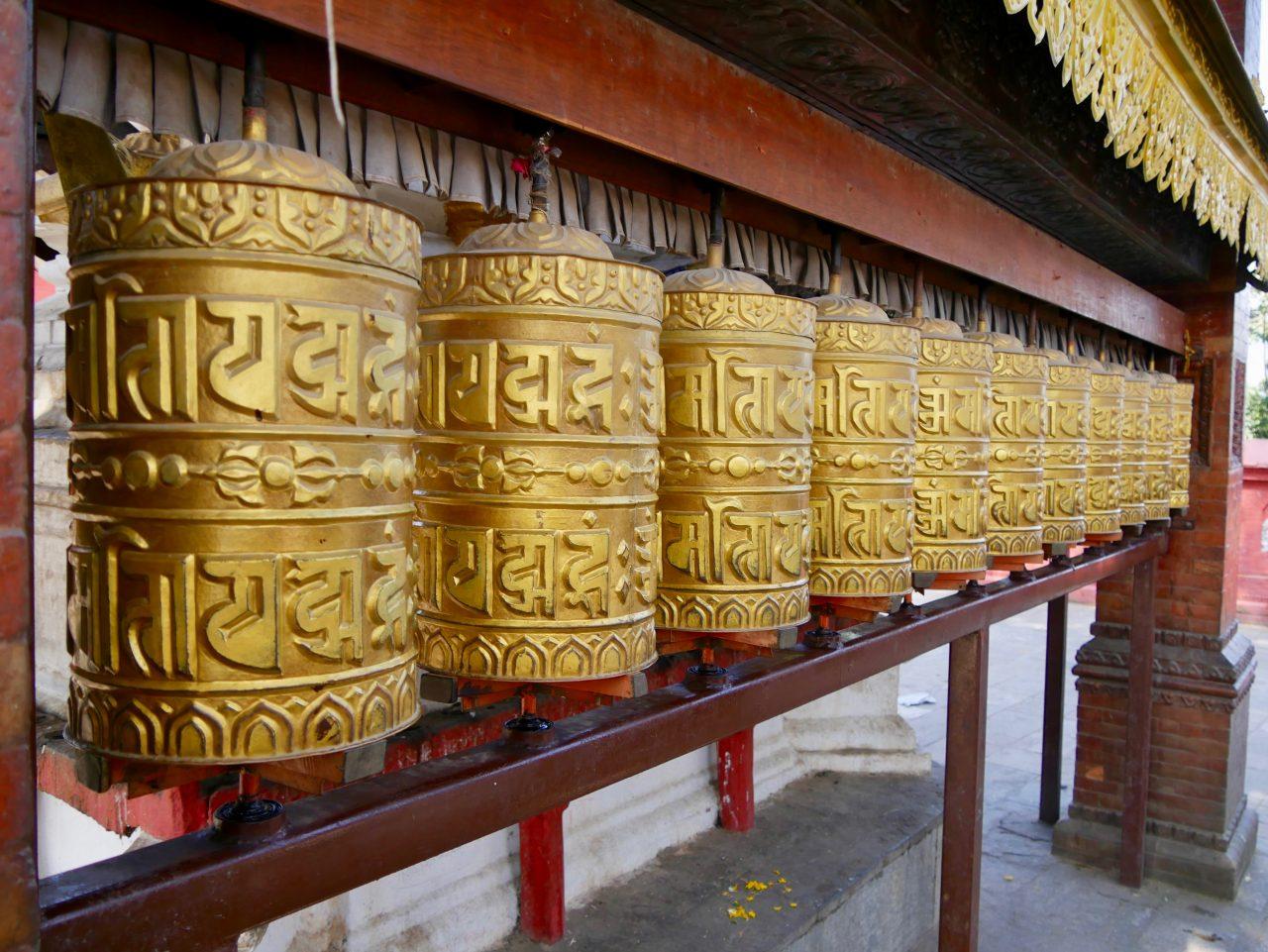 Gebetstrommeln, Swayambunath, Kathmandu, Nepal