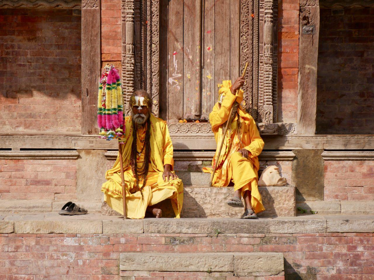 Bettelmönche, Durbar Square, Kathmandu, Nepal