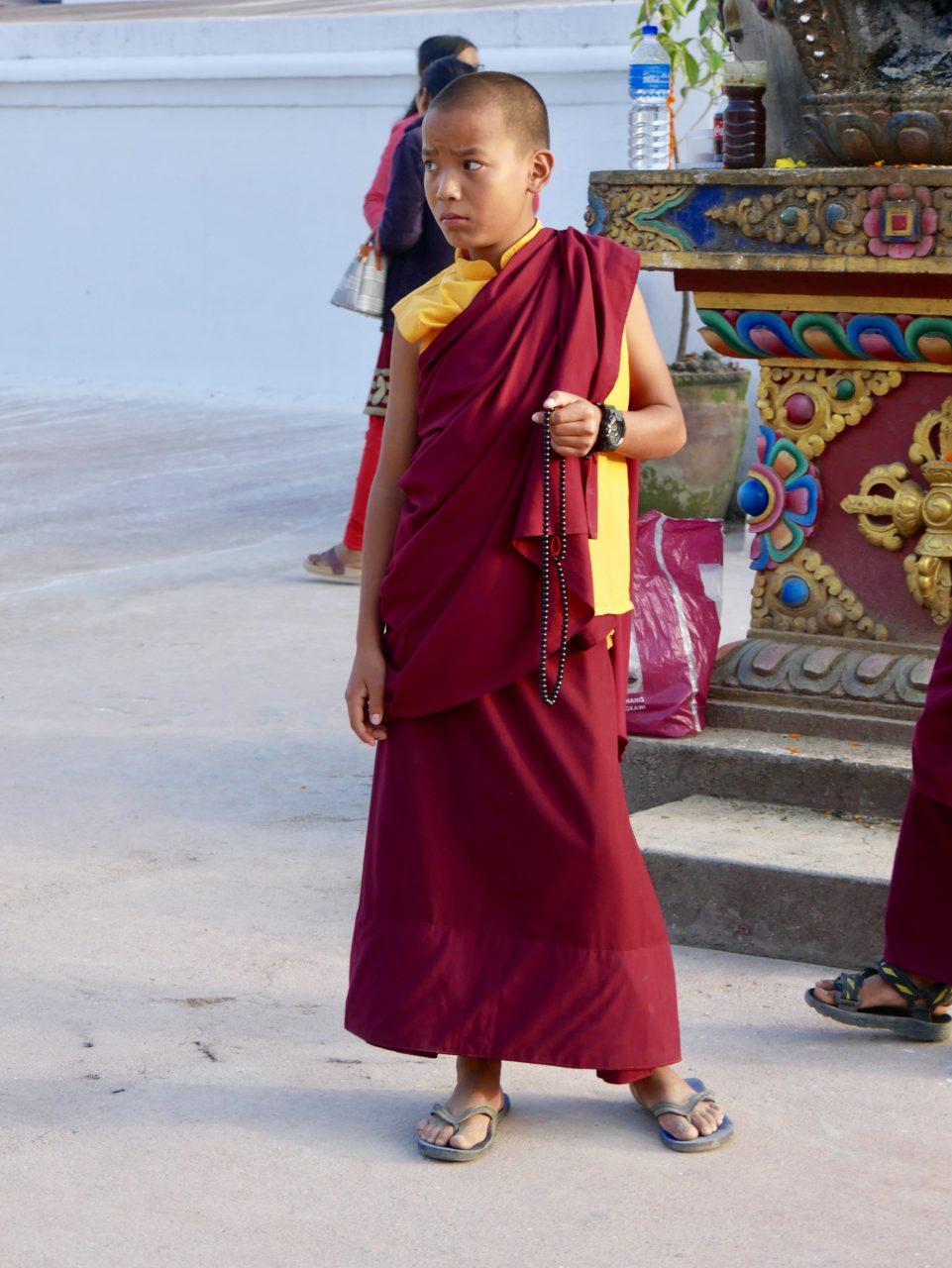 Junger Mönch, Bodnath Stupa, Kathmandu, Nepal